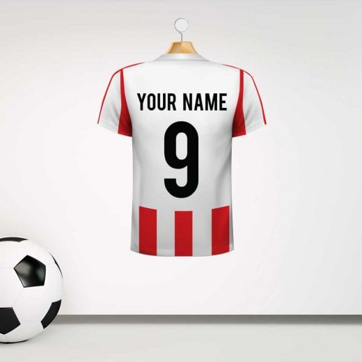 Personalised White & Red Striped Football Shirt Wall Sticker With Your Name & Number