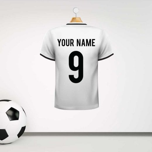 Personalised White With Black Trim Football Shirt Wall Sticker With Your Name & Number