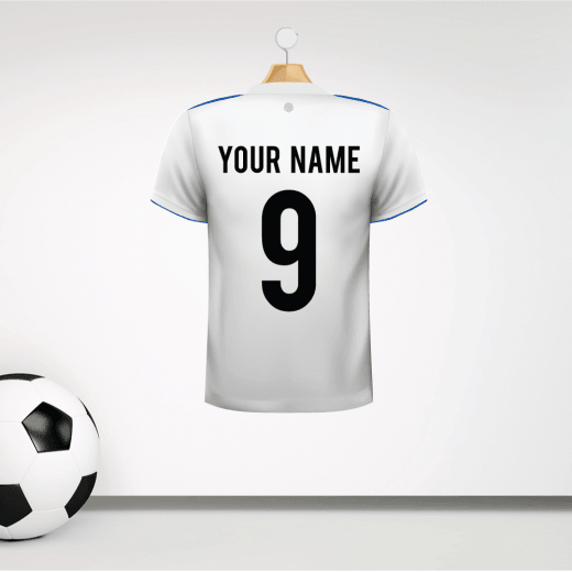Personalised White With Blue Trim Football Shirt Wall Sticker With Your Name & Number