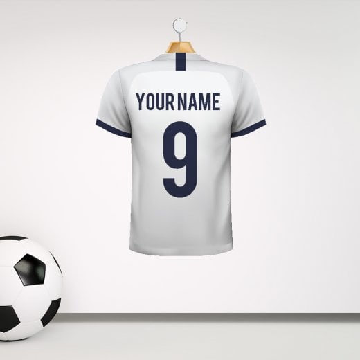 Personalised White With Dark Blue Trim Football Shirt Wall Sticker With Your Name & Number