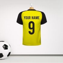 Personalised Yellow & Black Football Shirt Wall Sticker With Your Name & Number