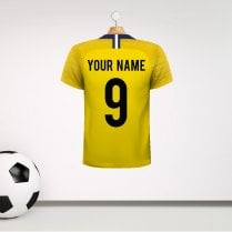 Personalised Yellow & Blue Football Shirt Wall Sticker With Your Name & Number