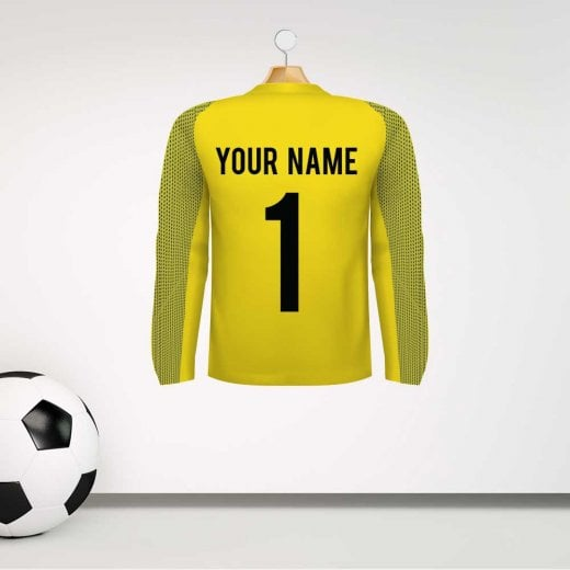 Personalised Yellow Goalkeeper Football Shirt Wall Sticker With Your Name & Number