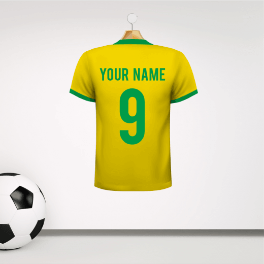 Personalised Yellow & Green Trim Football Shirt Wall Sticker With Your Name & Number
