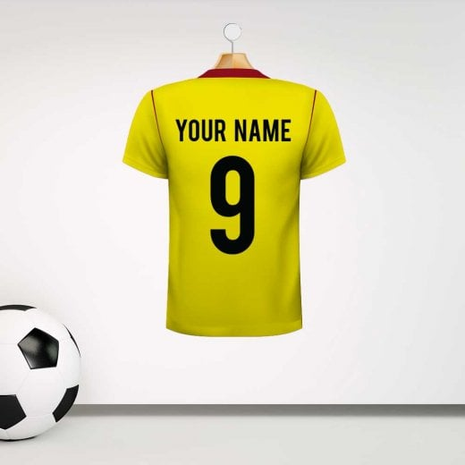 Personalised Yellow & Red Football Shirt Wall Sticker With Your Name & Number