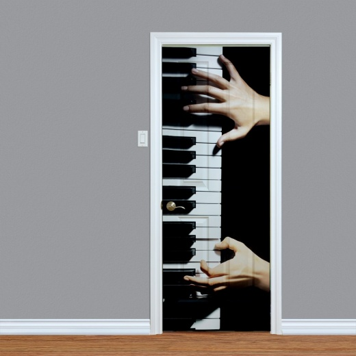 Piano Player Musical Printed Door Art