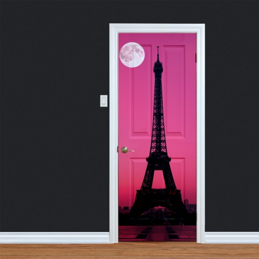 WallChimp Pink Sky Eiffel Tower Printed Door