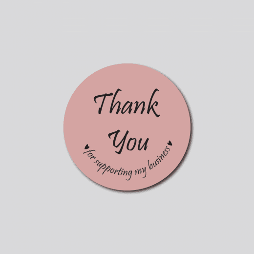 Pink Thank You Circle Stickers - Matt