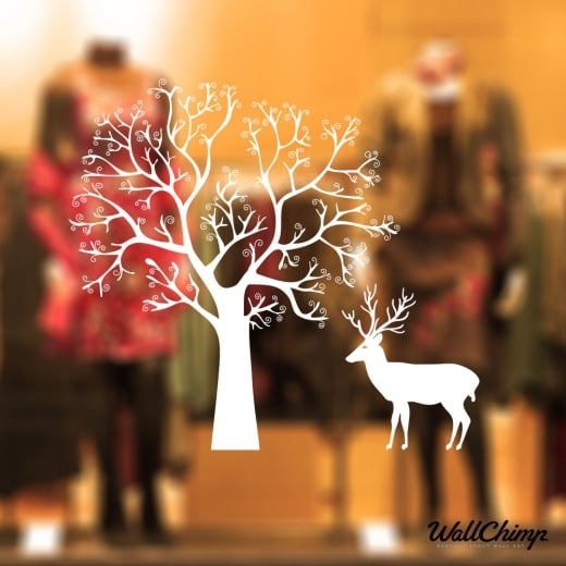 Reindeer Tree Winter Scene Wall & Window Sticker