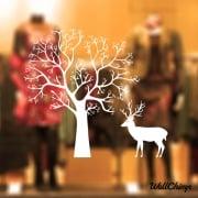 Reindeer Tree Winter Scene Wall & Window Sticker