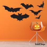 Six Scary Bats Wall & Window Sticker