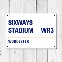 Sixways Stadium, Worcester Metal Sign