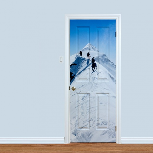 Snowy Mountain Trek Printed Door