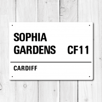 Sophia Gardens, Cardiff Metal Sign
