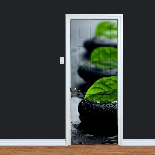 Spa Pebble & Leaves Printed Door