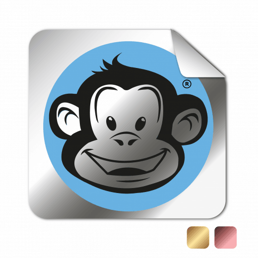 Square Rounded Corner Stickers - Chrome