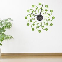 Swirls Flower Wall Sticker Clock