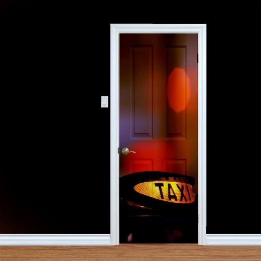 Taxi Light At Night Printed Door