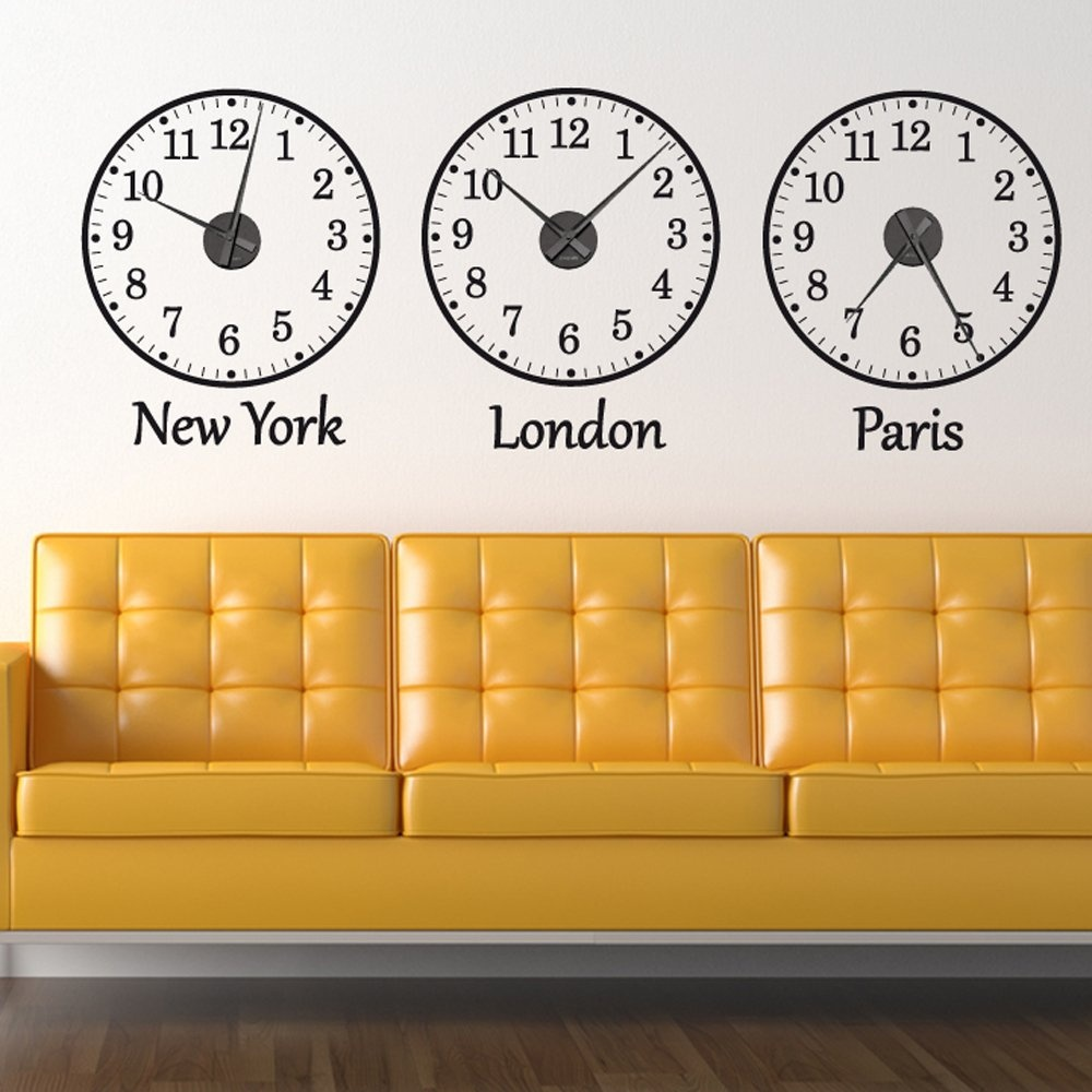 Time Zone Wall Sticker Clocks Wall Chimp Uk