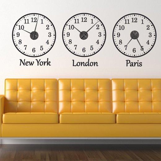 Time Zone Wall Sticker Clocks