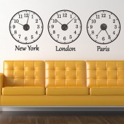 Time Zone Wall Sticker Clocks