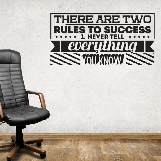 Two Rules To Success Wall Sticker Quote