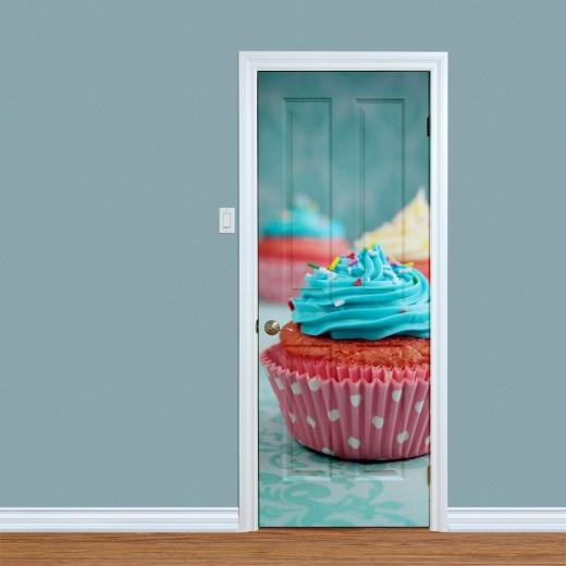 Vintage Cupcake Printed Door