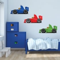 3 x Racing Cars Printed Wall Stickers