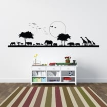 African Animal Scene Wall Sticker