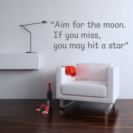 Wall Chimp Aim For The Moon Motivational Quote Wall Sticker