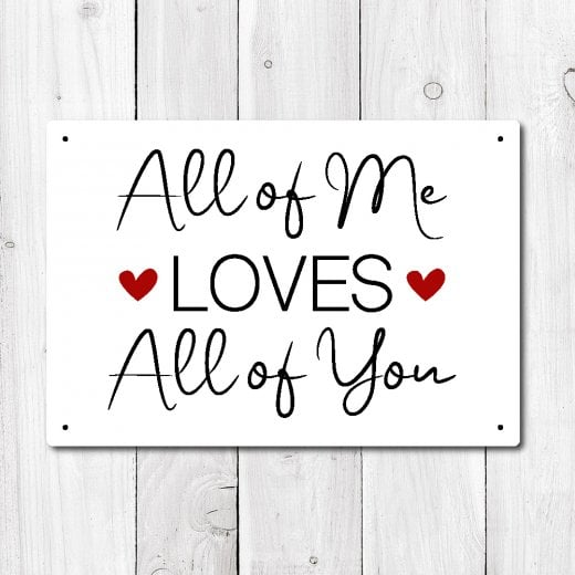 Wall Chimp All Of Me Loves All Of You Metal Sign