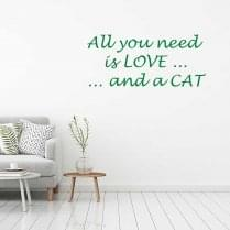 All you need is love and a cat wall sticker