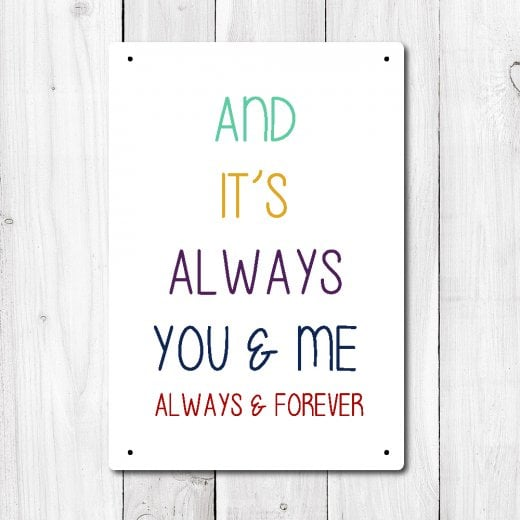 Wall Chimp And Its Always You And Me Metal Sign