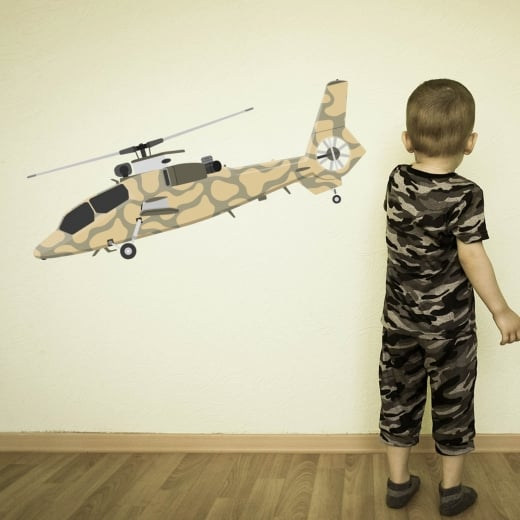 Wall Chimp Apache Helicopter Printed Wall Sticker