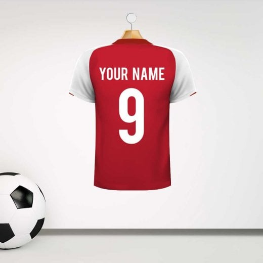 Wall Chimp Arsenal Red & White Football Shirt Wall Sticker With Your Name & Number - Custom Design