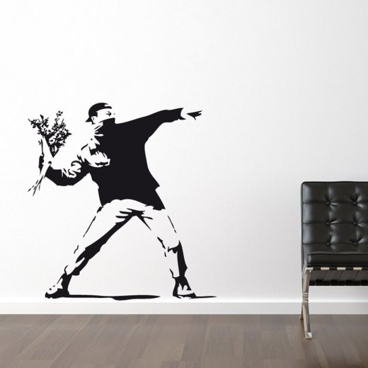 Wall Chimp Banksy Flower Thrower Wall Sticker