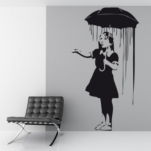 Wall Chimp Banksy Umbrella Girl Wall Sticker