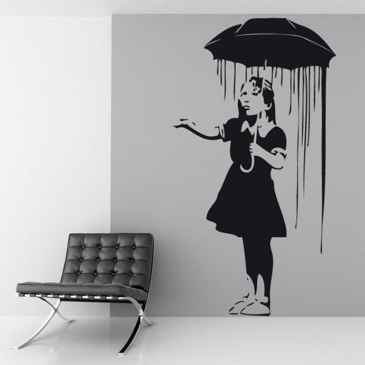 Wall Chimp Banksy Umbrella Girl Wall Sticker