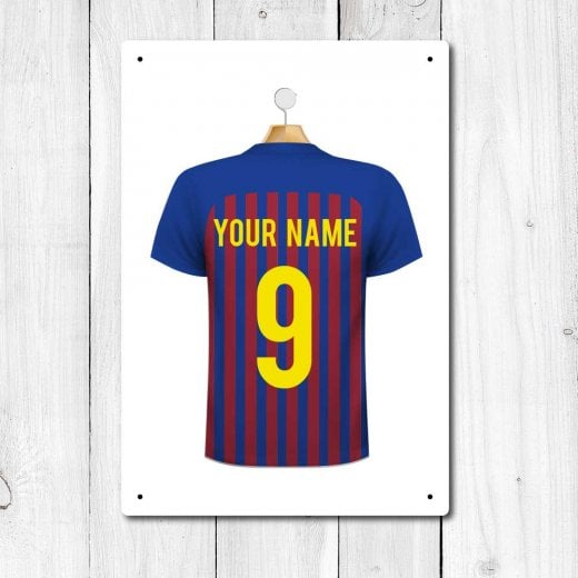 Wall Chimp Barcelona Blue & Maroon Football Shirt Metal Sign With Your Name & Number - Custom Design