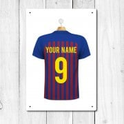 Barcelona Blue & Maroon Football Shirt Metal Sign With Your Name & Number - Custom Design
