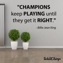Billie Jean King Motivational Sports Wall Sticker Quote