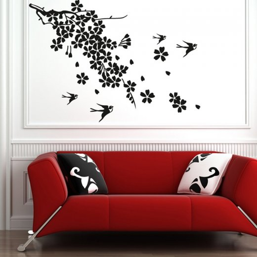 Wall Chimp Bird Tree Branches Wall Sticker