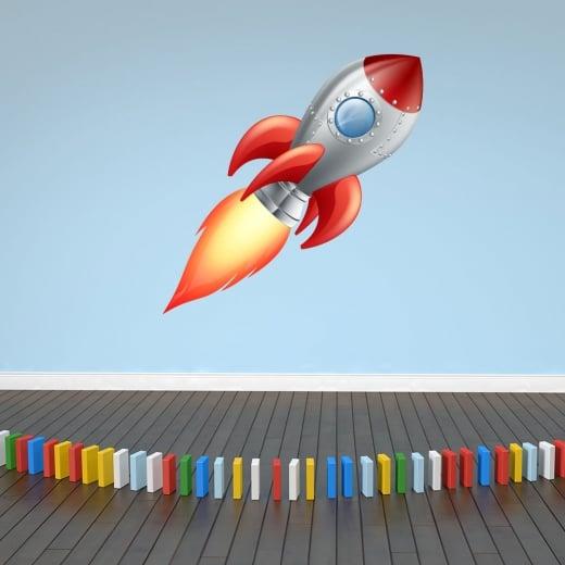 Wall Chimp Blast Off Space Rocket Printed Wall Sticker