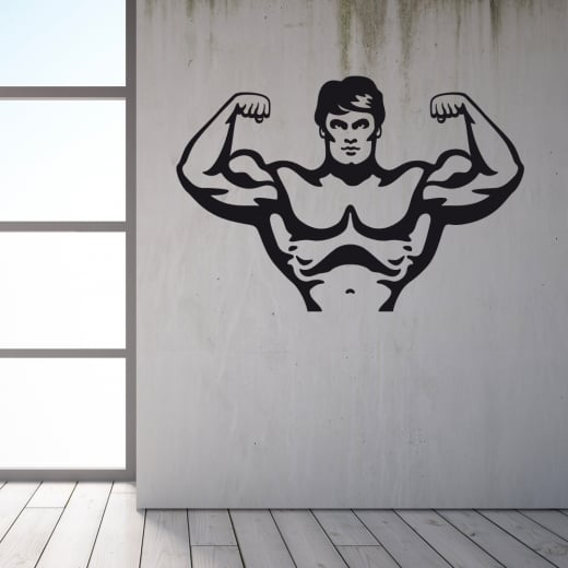 Wall Chimp Bodybuilder Flexing Wall Sticker