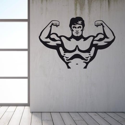 Wall Chimp Bodybuilder Flexing Wall Sticker