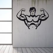 Bodybuilder Flexing Wall Sticker