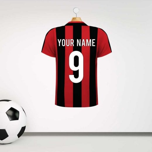 Wall Chimp Bournemouth Red & Black Football Shirt Wall Sticker With Your Name & Number - Custom Design