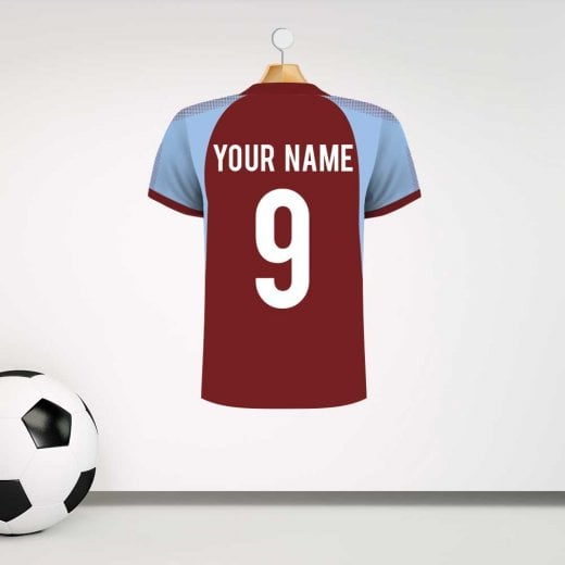 Wall Chimp Burnley Claret & Blue Football Shirt Wall Sticker With Your Name & Number - Custom Design
