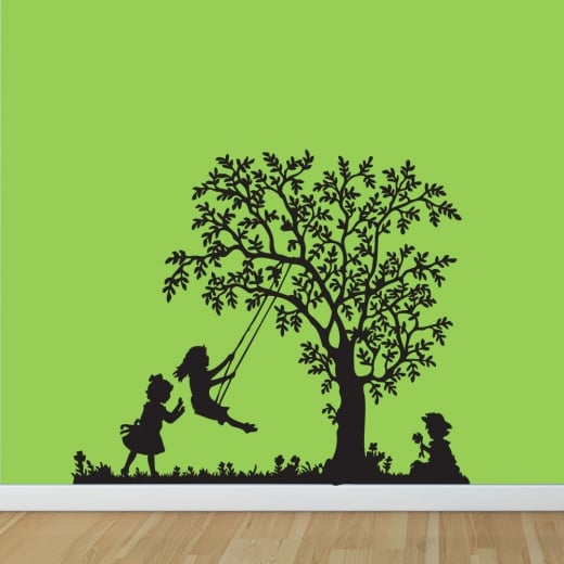 Wall Chimp Children Tree Swing Wall Sticker