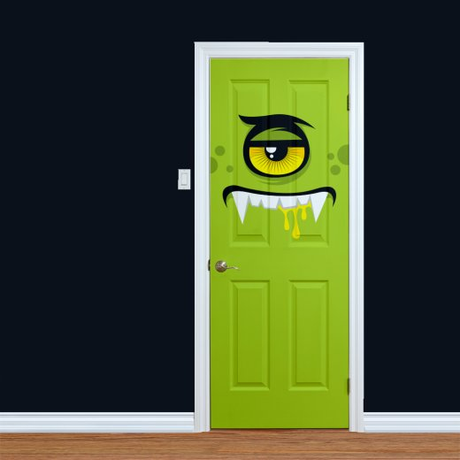 Wall Chimp Children's Green Monster Printed Door